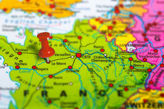 Le Mans France map. Le Mans in France pinned on colorful political map of Europe. Geopolitical school atlas. Tilt shift effect Royalty Free Stock Image