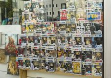 LE MANS, FRANCE - OCTOBER 08, 2017: Row of figures of American company Funko Pop in the shop window stock images