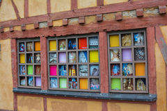 LE MANS, FRANCE - September 18, 2016: Pictures on the wall in the old town of Le Mans. LE MANS, FRANCE - September 18, 2016: Pictures on the wall in the old town royalty free stock photo