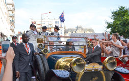 LE MANS, FRANCIA - 13 DE JUNIO DE 2014: Patrick Dempsey y el suyo combinan en Le Mans, Francia foto de archivo libre de regalías