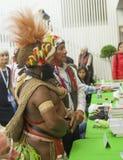 LE MANS, FRANCIA - 9 OTTOBRE 2016: Masquerader degli uomini in un costume indiano variopinto alla fiera del libro Immagine Stock