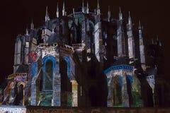 LE MANS, FRANKREICH - 28. AUGUST 2016: Nacht der Schimäre belichtete Leistung auf der Wand von römischem und von gotischem Lizenzfreie Stockbilder
