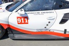 LE MANS, FRANKRIJK - JUNI 17, 2017: Expositie van Porsche 911 het Team van RSR Porsche GT royalty-vrije stock foto