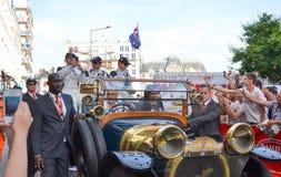 LE MANS, FRANKRIJK - JUNI 13, 2014: Patrick Dempsey en zijn team in Le Mans, Frankrijk Royalty-vrije Stock Foto