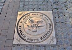 LE MANS, FRANKRIJK - OKTOBER 08, 2017: Vingerafdrukken en handtekening van de winnaars van rassen 24 uren Le Mans in 2003 Royalty-vrije Stock Afbeeldingen