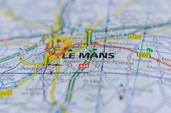 Le Mans on map. Close up shot of Le Mans on map, Le Mans is a city in France, on the Sarthe River Stock Photo