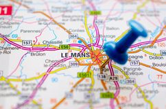 Le Mans on map. With push pin Royalty Free Stock Photography