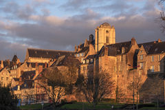 Le Mans old city seen from Sarthe River Quay Royalty Free Stock Images