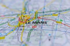 Le Mans op kaart Stock Foto