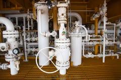 Le manuel actionnent le robinet à tournant sphérique aux proces de central de pétrole marin et de gaz Images libres de droits