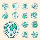 Le mappe della direzione di navigazione firmano il traffico e la linea più sottile icone messe vector l'illustrazione Fotografia Stock