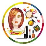 Le maquillage et les filles d'image avec un automne complexion l'aspect illustration de vecteur