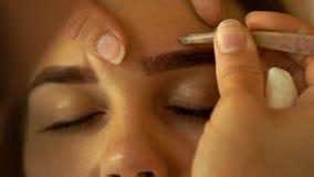 Le maquillage fait la jeune femme de correction de sourcil banque de vidéos
