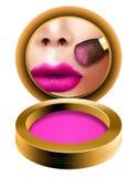 Le maquillage rougissent brosse, femme obtenant le regard prêt dans le miroir de poche avec rougissent powde illustration stock