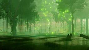 Le marais de forêt de nuit avec la luciole magique allume 4K illustration de vecteur