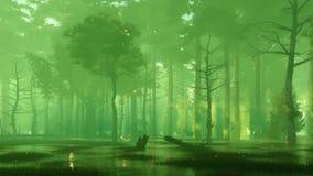 Le marais de for?t de nuit avec la luciole magique allume 4K illustration de vecteur