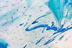 Le marbre bleu et blanc de couleur a mélangé l'abstraction d'encre Photo stock