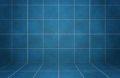 Le marbre bleu intérieur a couvert de tuiles le mur avec des ombres Photographie stock