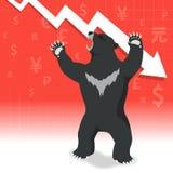 Le marché à la baisse présente le concept de marché boursier de tendance à la baisse Photos stock