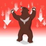 Le marché à la baisse présente le concept de marché boursier de tendance à la baisse Images stock