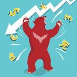 Le marché à la baisse rouge présente le concept de marché boursier de tendance à la baisse Images libres de droits