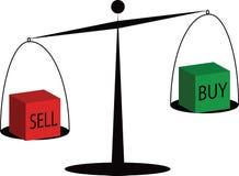 Le marché boursier, l'achat et la vente sur l'échelle illustration de vecteur