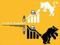 Le marché boursier se lève et vers le bas illustration de vecteur