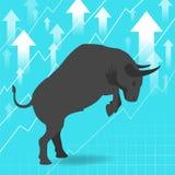 Le marché haussier présente le concept de marché boursier de tendance à la hausse Photo libre de droits