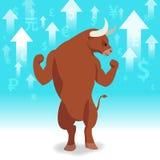 Le marché haussier présente le concept de marché boursier de tendance à la hausse Photographie stock