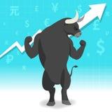Le marché haussier présente le concept de marché boursier de tendance à la hausse Image libre de droits