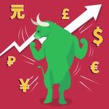 Le marché haussier vert présente le concept de marché boursier de tendance à la hausse Photographie stock