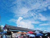 Le marché végétal de la ville antique de Lijiang, Yunnan, Chine photo stock