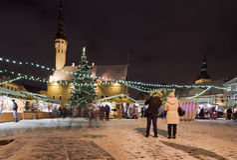 Le march? de No?l ? Tallinn Images stock