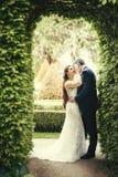Le marié embrasse la belle jeune mariée dans la joue tout en se tenant sous la voûte merveilleuse des feuilles vertes à Prague Images libres de droits
