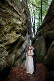 Le marié embrasse la jeune mariée par derrière photo libre de droits