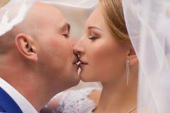 Le marié embrasse la jeune mariée portant un voile Photos stock