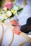 Le marié embrasse la mariée Photographie stock libre de droits