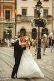 Le marié embrasse une jeune mariée avec du charme tandis que le vent souffle sa robe le long de t images stock