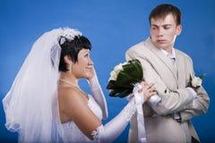 Le marié et la jeune mariée Image libre de droits