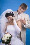 Le marié et la jeune mariée Photo stock