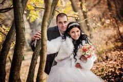 Le marié et la jeune mariée en automne se garent Photos stock