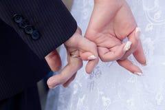 Le marié et les mains de fixation de mariée Photographie stock libre de droits