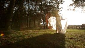 Le marié heureux tourne la belle jeune mariée en rond et des baisers L'emplacement de parc d'automne clips vidéos