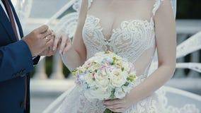 Le marié met l'anneau l'épousant sur le doigt de la jeune mariée et embrasse sa main Les anneaux de mariage d'échange de jeunes m banque de vidéos