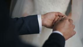 Le marié met l'anneau de mariage sur le doigt de la jeune mariée Mains de mariage avec des anneaux Le mariage d'échange de jeunes banque de vidéos
