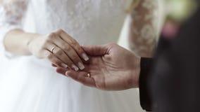 Le marié tient tendrement la main de la jeune mariée banque de vidéos