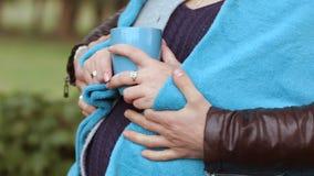 Le mari de HD huging son épouse enceinte Fermez-vous vers le haut du tir banque de vidéos