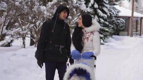 Le mari et l'épouse affectueux communiquent mignon et le sourire pendant une promenade ainsi que son fils dans la poussette dans  clips vidéos