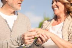Le mari et l'épouse mûrs gais sont en ligne Photo libre de droits