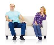 Le mari et l'épouse ne trouvent pas la compréhension mutuelle Photos stock